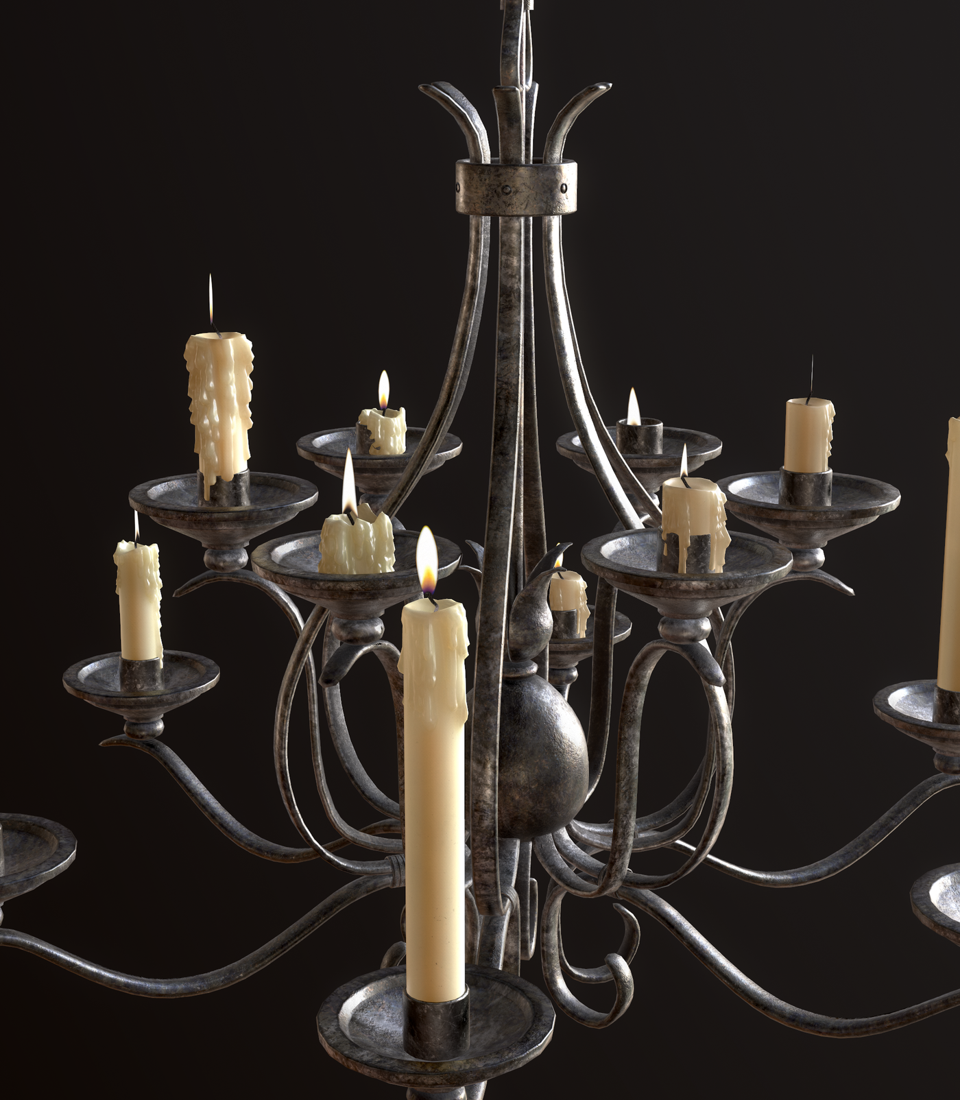Old Medieval Chandelier with Candles