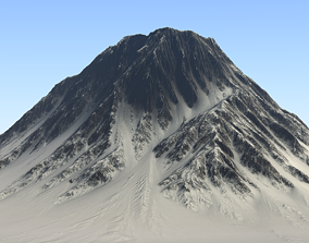 3D asset Snow-covered Volcano