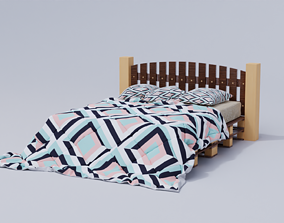 3D asset Bed with 3 pillows