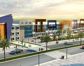 ultra modern mall administration and retail building 3D