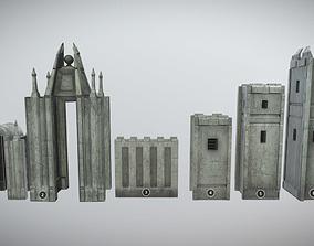 Medieval castle kit MUD 3D model