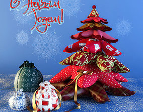 3D model Christmas tree with gifts made of cloth