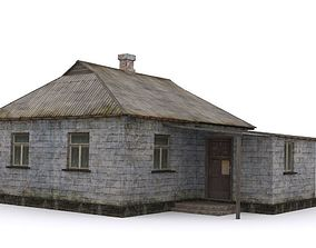 3D asset Old brick house