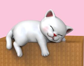 3D printable model Cute Sleepy Kitten STL decoration