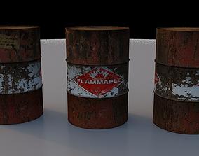 Oildrum and Destroyed Oildrum 3D asset