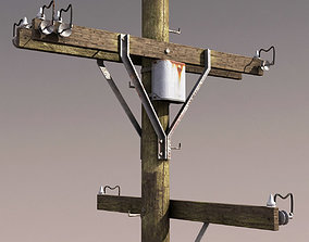 game-ready Telephone Pole Low Poly 3d Model