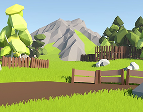 3D asset Low Poly Fence Pack