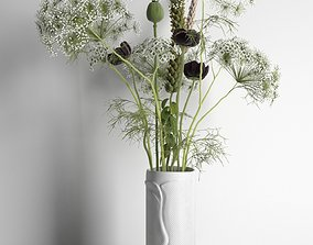 Plants Vase Books and Cup 3D