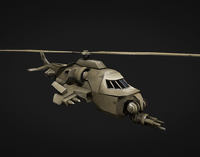 3D asset VR / AR ready army helicopter