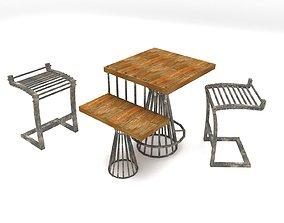 Industrial Furniture Set 3D industrial