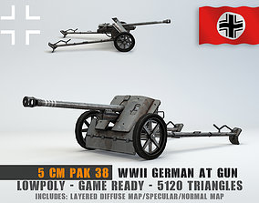 Low Poly 5 cm Panzerabwehrkanone 38 Anti Tank Gun 3D model