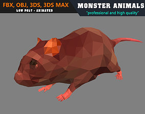 animated Low Poly Mouse Cartoon 3D Model Animated - Game