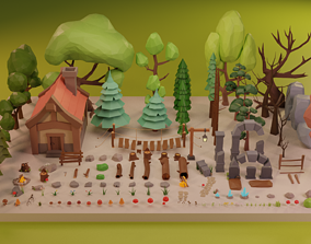 LowPoly Nature - Trees Grass and Rocks 3D asset