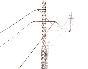 3D asset Electricity Pole 28 Weathered