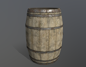 pbr 3D model game-ready Wooden Barrel Low Poly