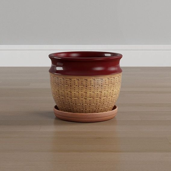 Red Textured Brick Pot