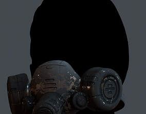 Gas mask helmet 3d model scifi Low-poly Low-poly realtime