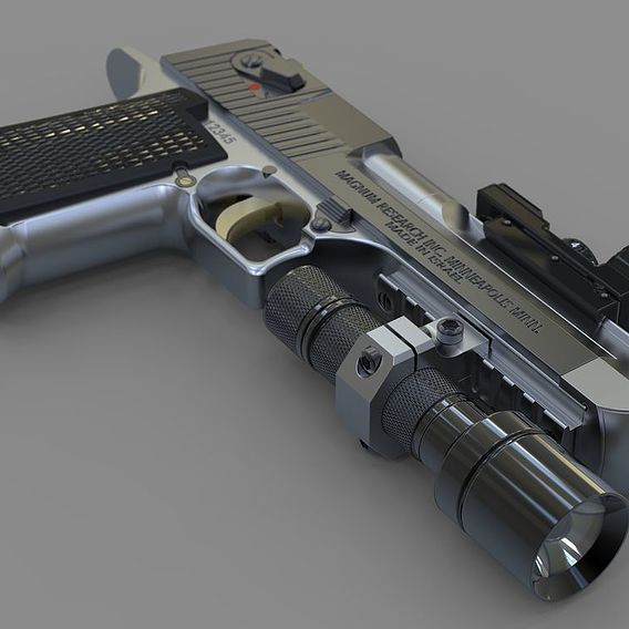 Desert Eagle pistol with collimator sight and flashlight.