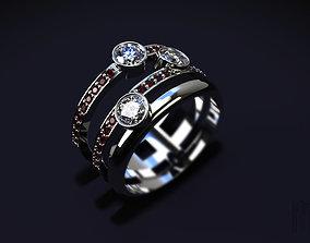 fashion ring with precious stones 3D print model