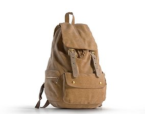 Brown Leather Travel Backpack 3D model
