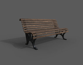 bench 3D model low-poly game