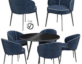 Gloria Mid-Century Walnut Round Dining 3D model