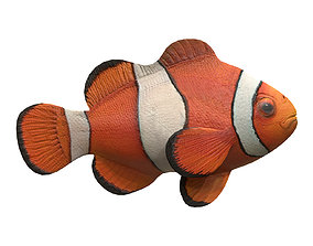 3D model animated game-ready clown fish
