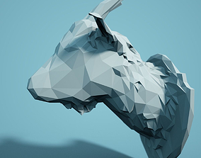Low Poly Goat Head Model poly