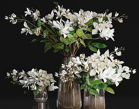 Gardenia Flower Bouquet Vase decor set 3D