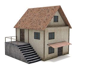 3D asset VR / AR ready building Medieval House