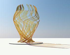Glass sculpture on blue background 3D model
