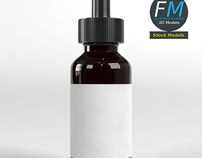 3D Dropper bottle with liquid and label