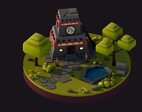 3D model Cartoon Low Poly Aztec Jungle House Illustration