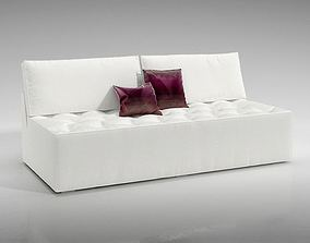 White Sofa With Red And White Pillows 3D