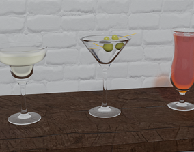 3D Cocktail glasses set 2