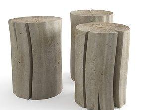 3D Wood Stub Side Tables