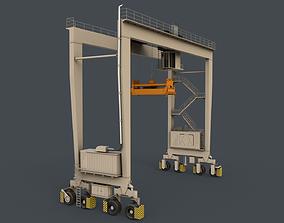 PBR Rubber Tyred Gantry Crane RTG V1 - White 3D asset