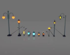 3D asset realtime cartoon Street Light Pack
