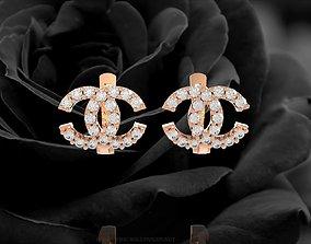 348 Channel Diamond Earrings 3D print model