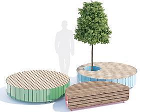 Stripes bench round 3D model