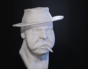 Fat Mobster Head 3D