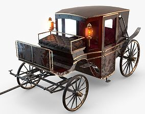3D asset Old wooden carriage