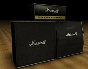 3D Marshall Amp Stack Black