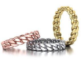 Miami Cuban Link Chain Ring Stackble 3D printable model 2