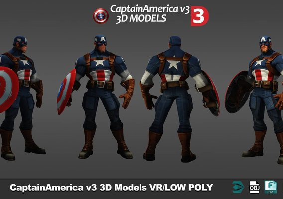Captain America 3d models low poly pack