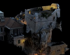 3D model Realistic Medieval Castle on rock textured and 2