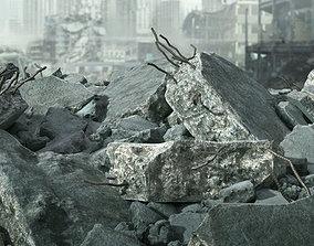 Demolished Concrete Rubble 3D model broken