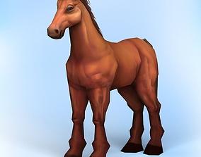 Horse 3D model low-poly pbr