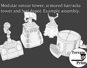 Sci-fi fuel-depot sensor-tower and 3D printable model