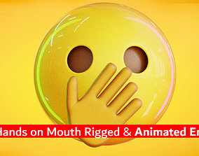 Hand Over Mouth Animated Emoji 3D model